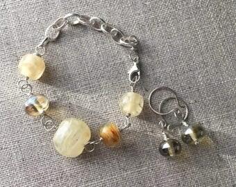 ON SALE Artisan Lampwork Bead Bracelet and Earrings Set. Cream Ivory Caramel Beige Lampwork Jewelry Set. Wedding Bracelet. Sterling Silver J