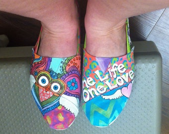 Custom TOMS, Handpainted Slip on Shoes, Bohemian New Age, I Am Abundance, Painted Owl Flats, Yoga, Yogi, Guru, Colorful Chakra, Sister Gifts