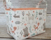 Storage and Organization  - Woodland Baby Animals - Bear Deer Fox - Fabric Bin Storage Container Basket - Baby Room Decor