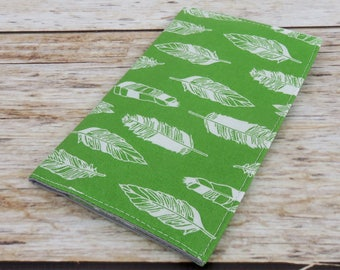 Checkbook Cover Case Cheque Coupons Receipts Check Book Money Holder - White Feathers on Green Fabric