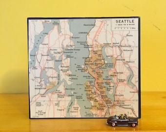 "Seattle Map Art Block - Home Office Decor - Housewarming Gift- New House or  Wedding  Present - Vintage Atlas 4.25"" x 4.25 "" Washington"