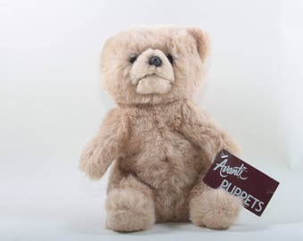 Applause, Vintage 1987, Teddy Bear, Avanti Puppets, Designed by Jockline Italy, Soft, Brown, Fuzzy, Stuffed, Animal ~ The Pink Room ~ 170304