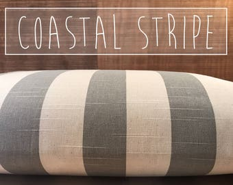 """Dog Bed Cover, 2"""" Stripe Coastal Gray/Natural Dog Bed Duvet Cover, Cat Bed Cover, Small to XL Covers for Dog Beds, Personalization Extra"""