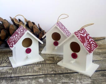 Modern rustic birdhouse Christmas ornaments. Hand-painted wood decoration, red and white pattern. Gardener gift, under 15, stocking filler.