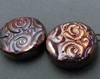 Urban Industrial Boho Tribal Raku Round Earrings