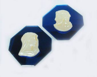 Jesus Mary Pair of Octagon Blue Mirror Glass Plaques