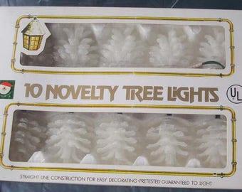 Vintage Kurt Adler White Pine Cone Christmas Tree Lights NIB