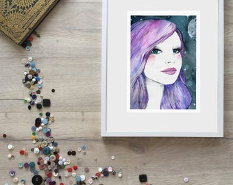 Portrait with Purple Hair Brilliant Bold Vibrant Modern Wall Decor Dark Night Sky with Stars and Moon Bold Eyes Red Rosy Cheeks Happy