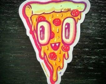 Pizza Face Vinyl Sticker