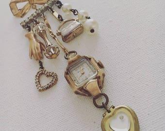Watch Brooch, Bow Brooch, Statement Brooch, Vintage Assemblage Jewelry