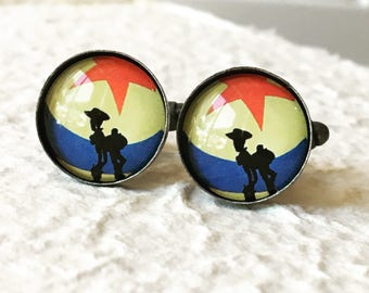 Toy Story Cufflinks - Buzz and Woody Silhouette Great for Pixar Themed Wedding - Disney Jewelry and Accessories Cufflink Sets