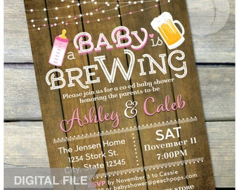 "A Baby is Brewing Invitation Beer Baby Shower Pink Co-Ed Couples Party Rustic Wood Style - DIGITAL Printable Invite - 5"" x 7"""