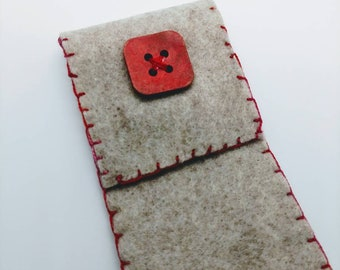 Eco Friendly Handmade Boro Glass Drinking Straw Felt Pouch Square Coral Red Button Straw Cleaning Brush - Prima Donna Beads