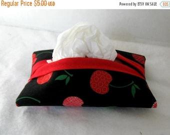 Flash Sale Cherries Tissue Holder  - Pocket Tissue Cozy - Travel Size Tissue Case - Cherry Purse Tissue Holder -Black Red