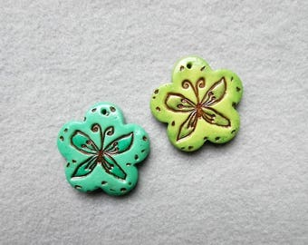 Butterfly Pendant in Polymer Clay - Set of 2 - Soaring Butterflies
