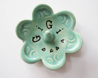 Gigi ring dish - Gift for GiGi - Keepsake Ring Dish -  Glazed in soft green - Gift box included