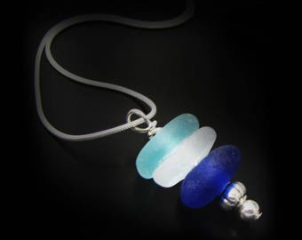 Genuine Beach Combed Ocean Blue Sea Glass Necklace - Sterling Silver Jewelry