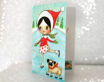 Pug Season's Greetings Card Pug ice skating sweet greeting card Happy Holidays pug stationery xmas card by Tascha