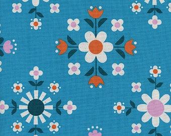 Cotton + Steel Welsummer - florametry - bright blue - 50cm - PRE-ORDER