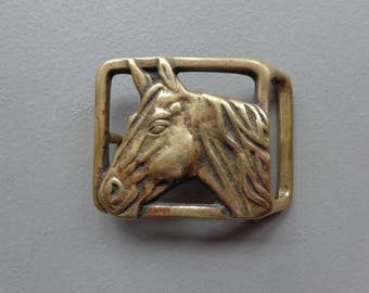 """Vintage Pre-Owned Solid Brass Horse Head Belt Buckle 3-1/8"""" Wide x 2-1/4"""" Tall"""