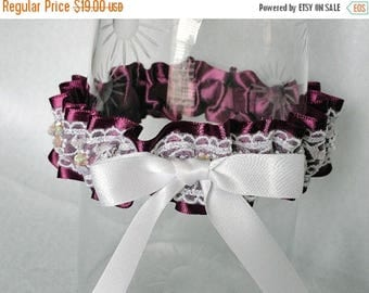 On Sale Violet Satin and White Embroidered and Beaded Lace Garter-1 Fits 14-18 inches