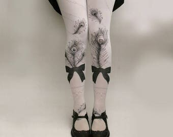 Pre-Order JEWEL FEATHER Illustrated Tights All Colours
