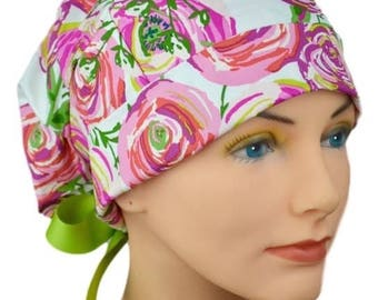 Womens Surgical Scrub Hats - Cabbage Rose - Small - Ribbon Ties