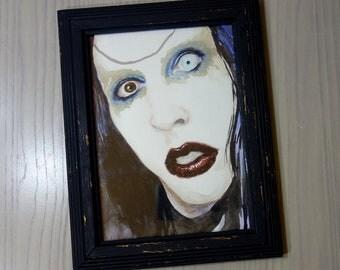 "ORIGINAL Marilyn Manson watercolor painting sketch 5x7"" FRAMED"