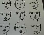 FACES in the CROWD  Full Filament  Womans Face  Stencil Girl laser cut stencil  6 x 6