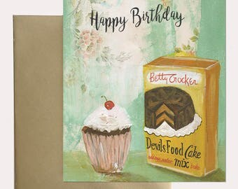 Greeting Card -  Happy Birthday Vintage Cake