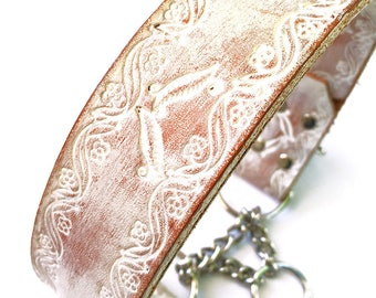 Tooled Whitewashed Leather Dog Collar Martingale Style, Custom Size To Fit Your Dog, EcoFriendly Leather Collar, USA Seattle Handmade, OOAK