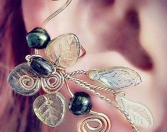 ON SALE Ear Cuff Lothlorien Spring Forest Elven Ear Wrap, No Piercing, Fantasy Fairy Jewelry, Gift Idea, bridal ear cuff