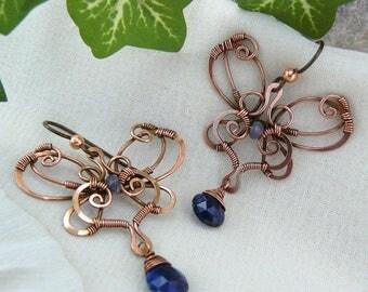 Copper Wire Butterfly Earrings ~ Butterfly Earrings ~ Butterfly Chandelier Earrings ~ Wire Wrapped Butterfly ~ Kyanite ~ Iolite Earrings