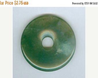 CLEARANCE 35mm Green Moss Agate Gemstone Pi Donut Focal Pendant Bead 782