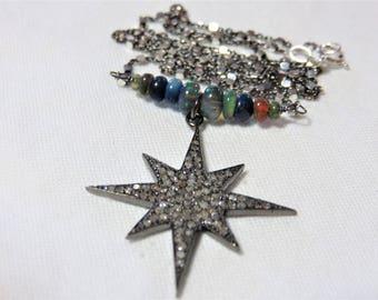 "Oxidized Sterling Silver Diamonds ""Star"" Pendant, Oxidized Sterling Silver Chain and Black Opal Beads Necklace"
