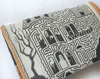 haunted mazes wallet, handmade from a vintage Halloween puzzle book, novel card holder