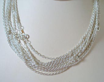 10 Silver Plated Rope Chains with Spring Ring Clasps, 16""