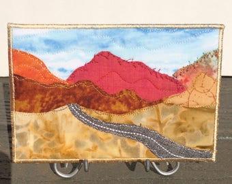 Thanksgiving Hostess Gift - Fall Mountain Landscape - Quilt Art - Home Decor - Fabric Postcard - Autumn Drive - Gift for Her - Mini Quilt