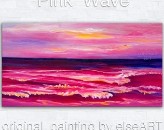 Sale Original abstract painting Sea art Sunset Pink Beach Wave on gallery wrap canvas oil painting home art by tim Lam 48x24