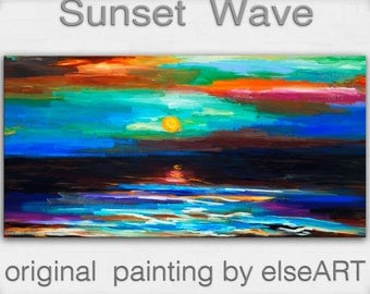 Original landscape Painting abstract seascape Sunrise Wave Oil Painting by tim Lam 48x24