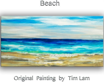 Original abstract painting Sea art Sun Shine Beach Wave on gallery wrap canvas oil painting home art by tim Lam 48x24