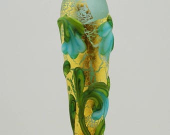 Golden Blue Snowdrops Etched Floral Focal Lampwork Bead