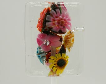 Paperweight Style Murrini Floral Focal Lampwork Bead