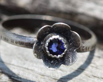 swarovski tanzanite etched sterling silver petals ring petals  hippie hippy boho twig handcrafted ring any size