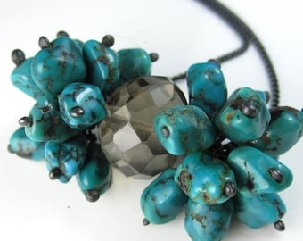 SUMMER SALE Smokey Quartz and Turquoise Necklace in Sterling Silver