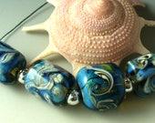 Lampwork perles/SRA au chalumeau/perles/Double Helix/bleu/argenté Ivoire/vagues/océan/plage /