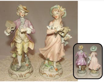 Pair of Vintage Porcelain Bisque Figurines 18th Century style Man & Woman Bird Catchers, No 7773, W