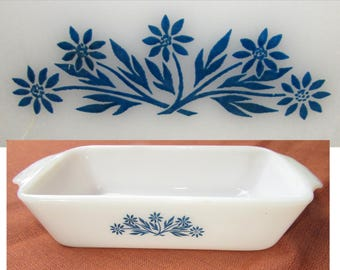 "Vintage White Milk Glass Anchor Hocking ""Fire King"" Casserole with Blue Cornflowers, 60s, Ovenware, bake loaf dish"