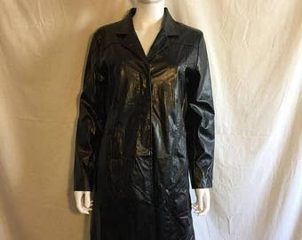 Closing Shop 40%off SALE Vintage 90s Black Faux Vegan Leather Midi long Trench Coat - Size Small