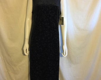 Closing Shop 40%off SALE 90's stretch stretchy black velvet  dress long maxi  Beaded floral glitter   NWT